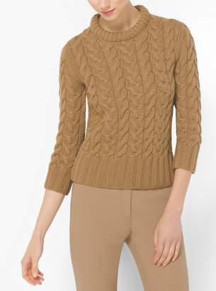 Michael Kors Hand-Knit Cable Cashmere Crewneck Sweater