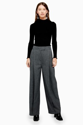 Topshop Charcoal Grey Wide Leg Trousers