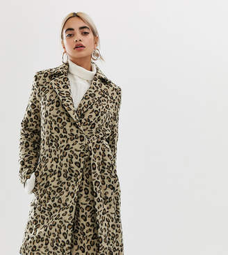 Lost Ink Petite Coat With Side Tie In Leopard Print