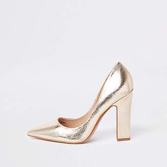 River Island Womens Gold metallic court shoes