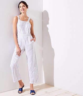 LOFT Petite Striped Apron Jumpsuit