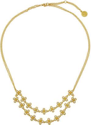 Freida Rothman Floral Double-Row Cubic Zirconia Bib Necklace