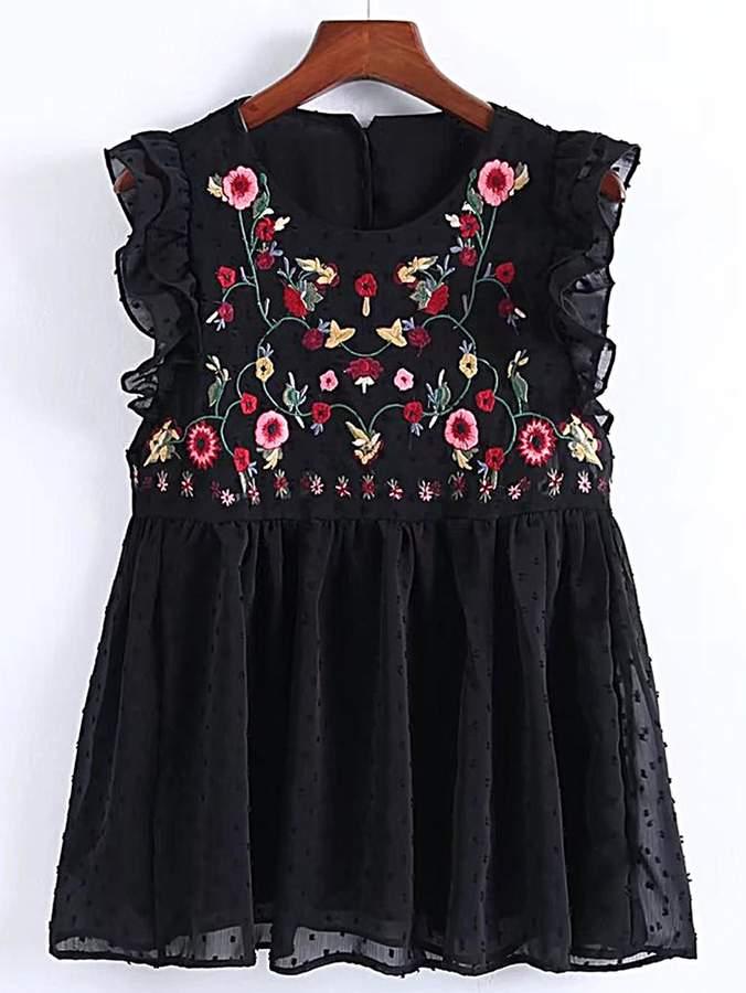 SheIn Flower Embroidery Pleated Hem Ruffle Trim Top