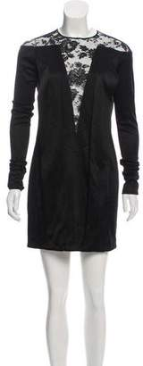 Balenciaga Lace-Paneled Mini Dress