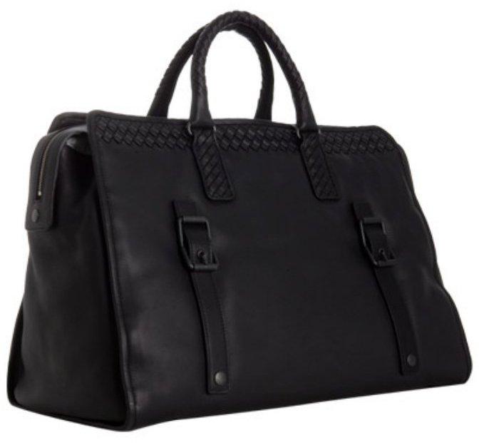 Bottega Veneta black basketwoven leather trim travel bag