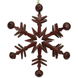 Asstd National Brand 11.5 Country Cabin 6-Point Red Metal Christmas Star Ornament with Jingle Bells
