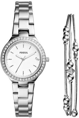 Fossil Women's Crystal Bracelet Watch & Bangle Set, 31mm