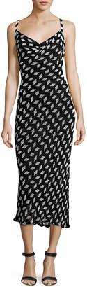 Cushnie et Ochs Beaded Chiffon Cowl-Neck Slip Dress, Black/White