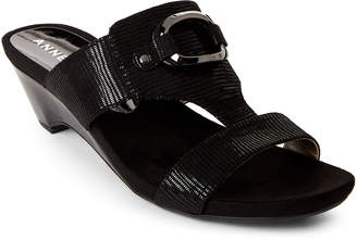 Anne Klein Black Teela Wedge Sandals