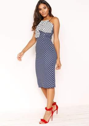 Missy Empire Missyempire Elouise Navy Polkadot Bow Twist Dress 248d696c4