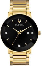 Bulova Men's Goldtone Black Dial Bracelet Watch