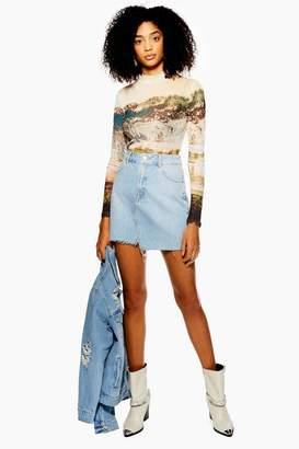Topshop Asymmetric Denim Mini Skirt