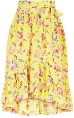 Joie Denisha Floral Silk Midi Skirt