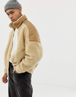 Bershka borg zip up jacket in beige
