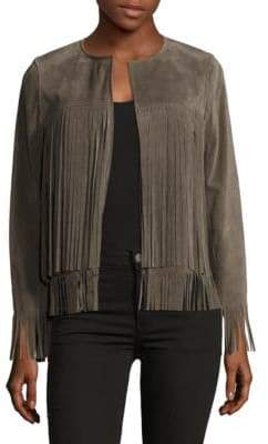 April Solid Fringed Leather Jacket