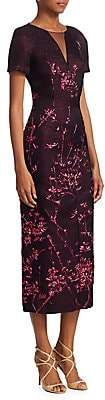 Talbot Runhof Women's Embroidered Illusion-Neck Midi Dress