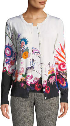 Etro Floral-Knit Two-Piece Cardigan Top