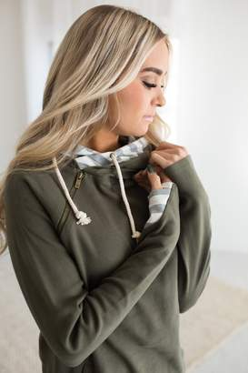 Ampersand Avenue DoubleHood Sweatshirt - Evergreen Stripe