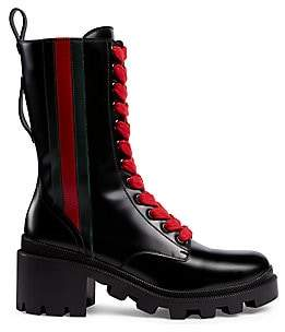 Gucci Women's Trip Leather Combat Boots