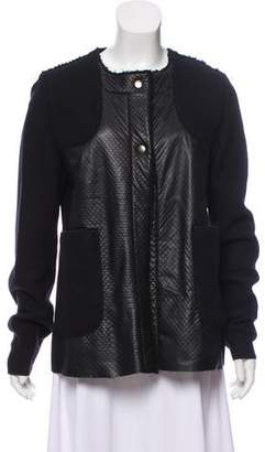 Hache Collarless Leather-Accented Jacket