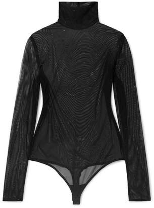 Wolford Crystal-embellished Stretch-tulle Thong Bodysuit - Black