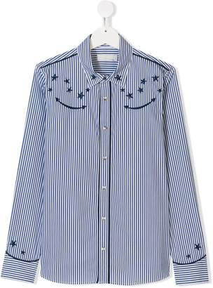 Stella McCartney TEEN star embroidered striped shirt