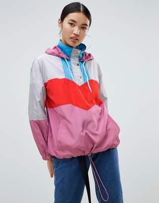 NA-KD color block track jacket in pink multi