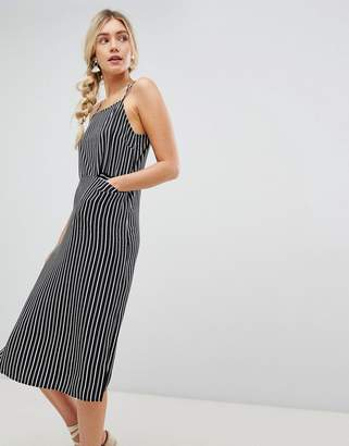 Warehouse midi cami dress with pocket detail in stripe