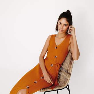 Warehouse Horn Button Midi Wrap Dress