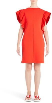 Women's Msgm Ruffle Sleeve Crepe Sheath Dress $285 thestylecure.com