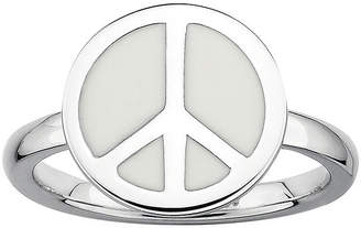 JCPenney FINE JEWELRY Personally Stackable Sterling Silver White Enamel Peace Ring