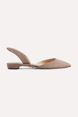 Paul Andrew Rhea Suede Point-toe Flats - Taupe