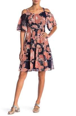 Robbie Bee Cold Shoulder Floral Print Mini Dress