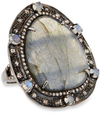 Bavna Silver Oval Ring with Labradorite & Diamonds, Size 7