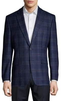 Calvin Klein Plaid Wool Blazer
