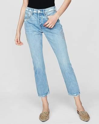 Express High Waisted Studded Original Vintage Skinny Ankle Jeans