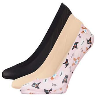 Me Moi MEMOI Womens Three-Pack Woof Fine Edge Liner Socks
