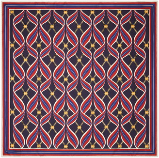 Gucci Ribbon & Logo Chain Print Square Silk Scarf