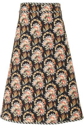 Oscar de la Renta Floral-Print Silk-Faille Midi Skirt Size: 6