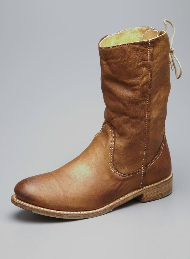 Vintage Shoe Company Erin Lace Back Flat Leather Boot