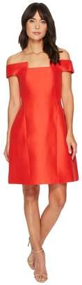 Halston Off Shoulder Geo Neck Silk Faille Dress Women's Dress