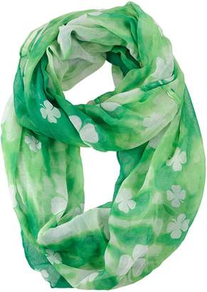 D&Y Women's St. Patrick's Day Lucky Clover Sheer Infinity Loop Scarf