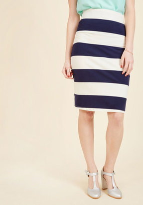ModCloth The Type for Stripes Pencil Skirt in Navy in S $29.99 thestylecure.com