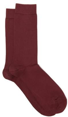 Sunspel Long Staple Cotton Blend Socks - Mens - Burgundy