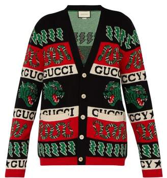 Gucci Tiger Intarsia Wool Cardigan - Mens - Red Multi