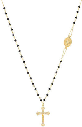FINE JEWELRY Womens Black Crystal 14K Gold Rosary Necklaces