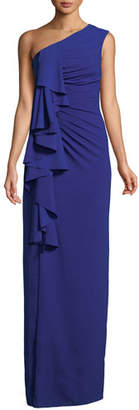 Aidan Mattox One-Shoulder Draped-Front Gown