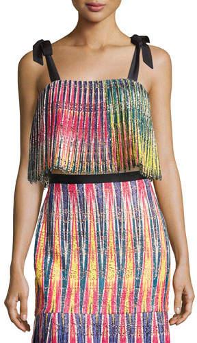 Saloni Jemi Pleated Crop Top, Multicolor