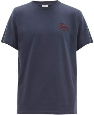 Loewe Anagram Embroidered Cotton Jersey T Shirt - Mens - Navy