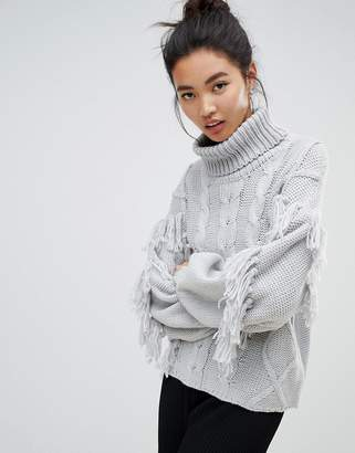 96db4ffafe Neon Rose relaxed sweater with high neck in textured tassel knit